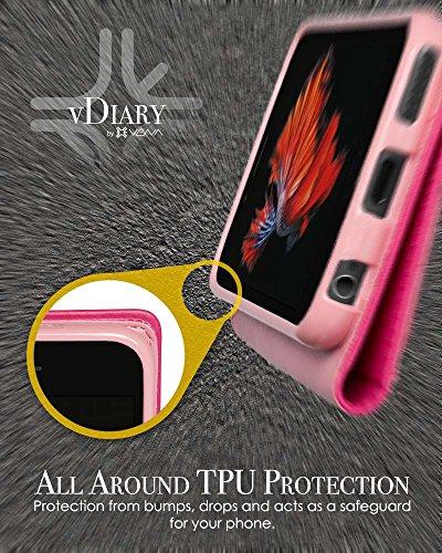 """iPhone 6s Plus coque - Vena [vDiary] PU portefeuille cuir case couverture avec carte poche fente pour Apple iPhone 6 Plus / iPhone 6s Plus (5.5"""") (Noir) Rose"""