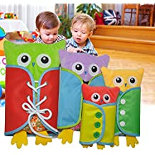 Pueri Peluches de Aprender Vestir para los Niños Juguetes de Material Montessori de Forma de Búho