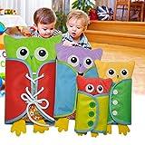Pueri Peluches de Aprender Vestir para los Niños Juguetes de Material Montessori de Forma de Búho Juguetes Rompecabezas Educativos