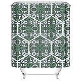 LINGCURTAIN Duschvorhänge Gradient Hexagon Stoff für Badezimmer Dusche Vorhang 36