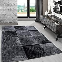 Modern Designer Teppich Für Wohnzimmer Kariert Vintage Schwarz Weis 8003,  Maße:80x150 Cm