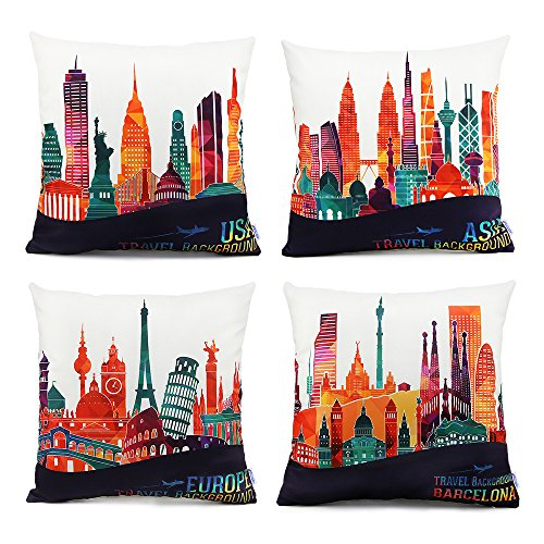 Set of 4 18 x 18 Standard Size Square Decorative Throw Pillow Case Cushion Cover with World Famous Buildings Print Pattern for Couch Sofa Chairs Office Home Decor