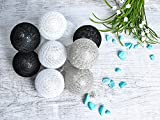 GUIRLANDE LUMINEUSE o 10 boules LED o 2 x piles AA o NOIR o GRIS o BLANC o FIL DE COTON o idéale pour le décor intérieur o #3653