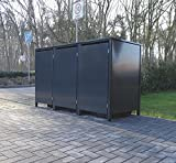 3 Mülltonnenboxen ohne Stanzung für 240 Liter Mülltonnen / komplett Anthrazit RAL 7016 / witterungsbeständig durch Pulverbeschichtung / mit Klappdeckel und Fronttür