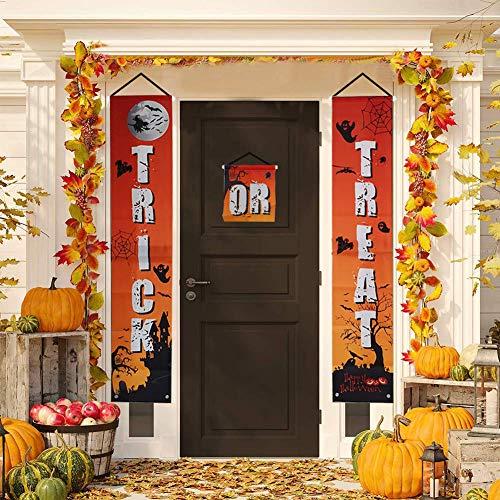 Onebycitess Süßes oder Saures Halloween Banner für Zuhause Indoor/Outdoor Halloween Dekorationen Set Halloween hängende Banner Zeichen für bereit zu begrüßen Kinder