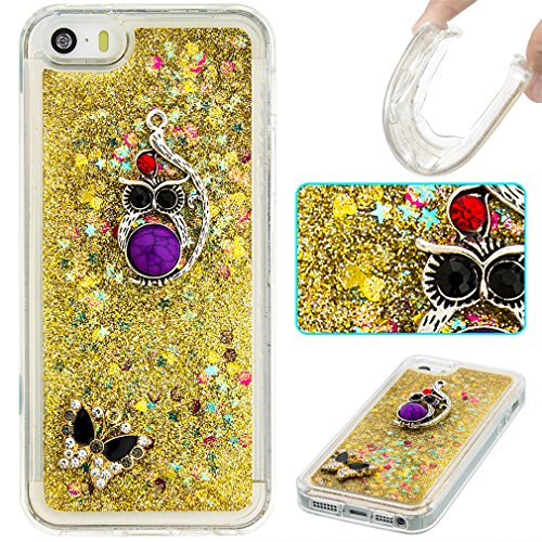 Mk Shop Limited Coque pour iPhone SE, iPhone 5 / 5S Coque,iPhone SE / 5S / 5 Gel 3D Transparent Hourglass Sables Mouvants Liquide Coque Slim Soft Etui Housse, iPhone SE / 5S / 5 Silicone Clear Case TP Multi-couleur 17