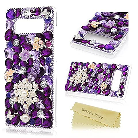 Note 8 Case ,Galaxy Note 8 Case - Mavis's Diary Luxury 3D Handmade Bling Case Shiny Purple Diamonds Gems Rhinestone Cover Sparkly Pearls Flower Clear Hard PC Transparent Protective Back Case for Samsung Galaxy Note 8 - Pearls
