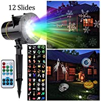 (UK SHIPPING) Projector Light, Peralng® LED Spotlights Landscape Rotating Light Decorative Colorized Auto Moving Lamp With 12 Replaceable Lens (with Remote Control)