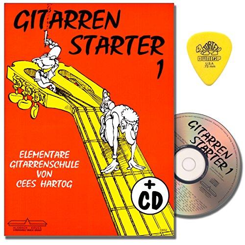 Gitarrenstarter Band 1 - Gitarrenschule mit CD für Anfänger von Cees Hartog - mit Original Dunlop PLEK (Claire De Lune Noten)
