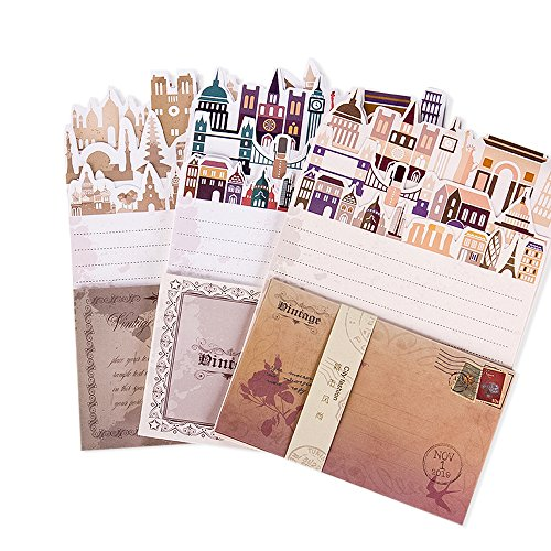 Jia HU 72Stück City Buchstabe Schreiben Stationäre Papier und Umschläge DIY Craft Geschenk 8Stück, zufällige Farbe (Drucker Stationären Papier)