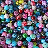 K2-accessories–100Perles en Verre peintes Effet marbre couleur Mix 8mm