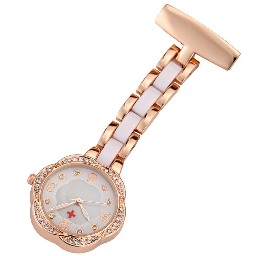 GORBEN Men's Ladies Metal Rose Gold Crystal Nurse Doctor Paramedic Tunic Brooch Pocket Watch + Bag