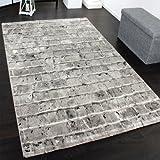 Edler Designer Teppich mit Steinwand Optik in Grau Schwarz Meliert