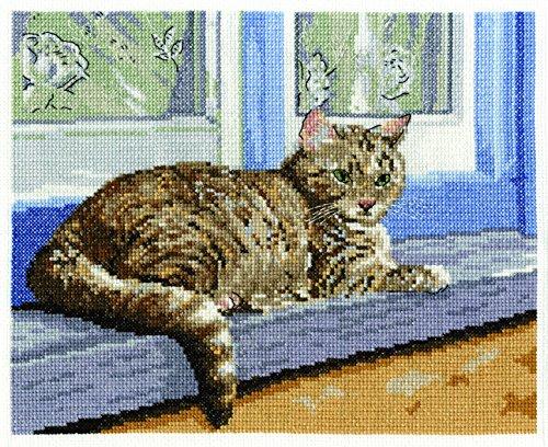 DMC - Juego de utensilios para cuadro de punto de cruz, 14 puntos, diseño de gato, multicolor