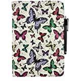 Emartbuy® 360 Degree Rotating Stand Folio Wallet Case Cover For Amazon Fire HD 10 Tablet 10.1 Inch (Size 9-10 Inch 360_Multi Butterfly)