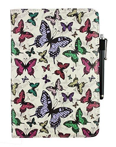 Emartbuy Samsung Galaxy Tab E 8.0 3G 4G LTE 8 Pollice Tablet Universale (7-8 Pollice Farfalle 360° Rotante Folio Wallet Custodia Case Cover + Nero Stilo