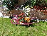 XXL Offene Holz-Schubkarre, Gartendeko Karre zum Bepflanzen, Blumentöpfe, Pflanzkübel, Pflanzkasten, Blumenkasten, Pflanzhilfe, Pflanzcontainer, Pflanztröge, Pflanzschale, Schubkarren 120 cm HSOF-120-PINK Blumentopf, Holz, rot pink amazon rosarot Pflanzgefäß, Pflanztöpfe Pflanzkübel
