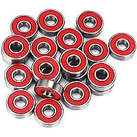 10 piezas multiusos blindado doble de acero cromado de alta velocidad silenciosa Rodamientos Vespa del patín de ruedas del monopatín rojo de los cojinetes