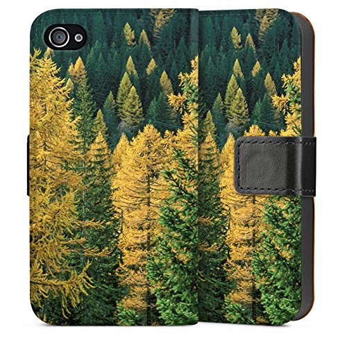 Apple iPhone 4 Housse Étui Silicone Coque Protection Forêt Arbres Nature Sideflip Sac