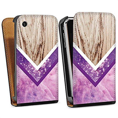 Apple iPhone 6 Housse Étui Silicone Coque Protection Look bois Paillettes Motif hipster Sac Downflip noir
