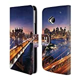 Head Case Designs Brooklyn Bridge Skylines Der Städte Brieftasche Handyhülle aus Leder für HTC One M7