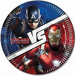 Platos de fiesta de Capitán América: Guerra Civil, 8unidades, 23 cm
