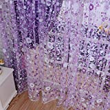 Seguryy 1M*2M Floral Pattern Offset Blinds Window Screen Ready Made Curtains Homeware & Furniture (Purple)