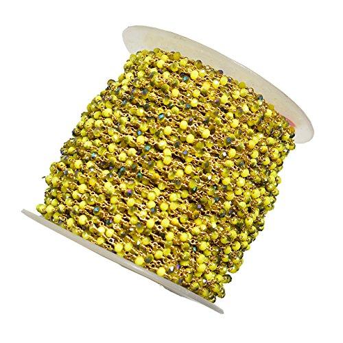 Embroiderymaterial Roundelle Perlenkette für Schmuckherstellung zitronengelb