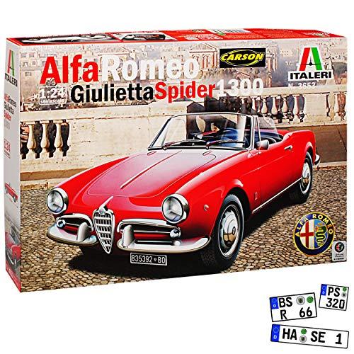 Alfa Romeo Giulietta 1300 Spider Cabrio Rot 1954-1964 3653 Kit Bausatz 1/24 Italeri Modell Auto
