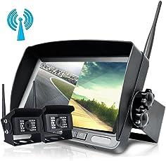 """Digitales Drahtloses Rückfahrkamera System, Podofo 7 """" TFT LCD Split Monitor + 2 X IP69 Imprägniern Rückansicht Kamera für Bus, Anhänger, RV, Wohnmobil, LKW, Auflieger, Pferdeanhänger"""