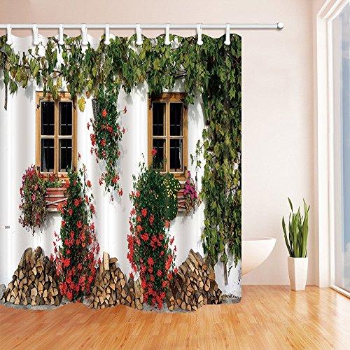 Gohebe House Decor Vorhänge Dusche Von Europäischen Style Back Yard Flower  Wandbild Mit Holz Zwei Einfache