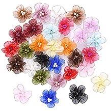 Outus Flores de Organza con Cuentas Apliques de Cinta de Tela, Colores Multiples, 30 Piezas