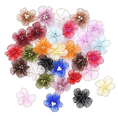 Outus Fleurs Organza Broches Fleurs Appliques avec Perles, Couleurs Multiples, 30 Pièces