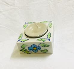 Shriyam Craft blue pottery candle with stand
