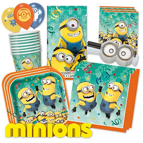 Minions PartyBox für Mottoparty & Geburtstag Party Set (Premium für 8 Gäste - (Supplies Party Minion)