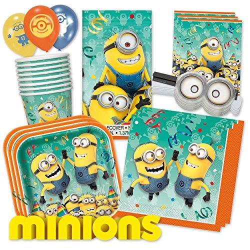 Minions PartyBox für Mottoparty & Geburtstag Party Set (Premium für 8 Gäste - (Party Minion Supplies)