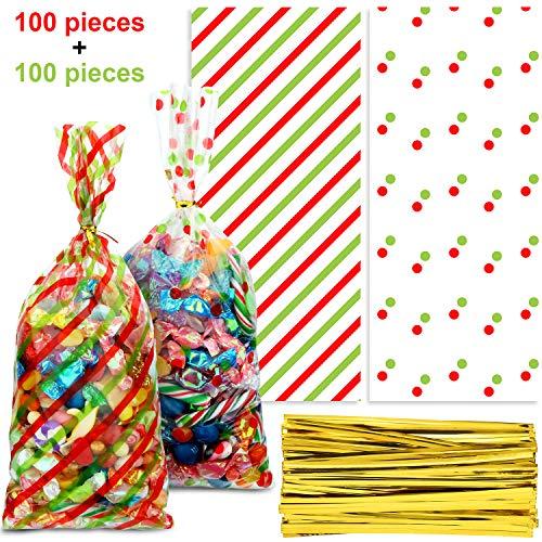 Blulu 100 Stücke Weihnachtskegel Zellophantüten Weihnachtsgebäck Bonbontüten Rot und Grün Gestreifte Geschenkbeutel mit Tupfenmuster mit 100 Stücken Goldenen Bindebändern für die Weihnachtsfeier