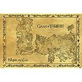 Póster Game of Thrones (Juego de Tronos) Mapa antiguo de Westeros y Essos Ponient (91,5cm x 61cm) + 1 paquete de tesa Powerstrips® (20 tiras)