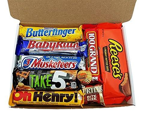 Mini Coffret Cadeau Américain Chocolat   Noël/Anniversaire   Boîte American Candy Bonbons  Assortiment inclut Hersheys, Reeses, M&M's   Coffret cadeau vintage