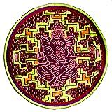 ImZauberwald Ganesha Ayahuasca Aufnäher (20cm, Schwarzlicht aktiv, handgestickt ohne PC) psychedelic DMT Trip Visionsmuster Shipibo Conibo Yage patch