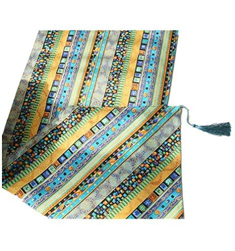 PLYY Tischläufer Baumwoll-Leinen-Tabellen-Läufer mit Troddeln Weinlese-Streifen-Tapisserie-Tabelle für Hochzeits-Ausgangsdekor Mehrfache Größen-Grün, 30 * 220cm