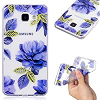 Coque Samsung Galaxy A3 2016 / A310,ToDo Etui Housse Souple Silicone Transparent pour Samsung Galaxy A3 2016 / A310 Coque de Protection Flexible Ultra Mince Slim Gel TPU Bumper Anti-Choc Anti-Rayures Case Cover - Fleurs Bleues