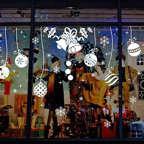 Fenstersticker weihnachten Weihnachtssticker, Removable Wandaufkleber Wandsticker Schneemann Weihnachtsbaum (2 Blätter X 30 * 90 cm) (Weiß)