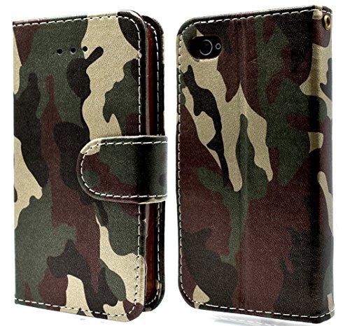 iPhone 4Case Camo Wallet PU Leder Folio [Slim Fit] [Heavy Duty Schutz] Weiche TPU Rückseite Schutzhülle mit Ständer für iPhone 4/4S mit Magnetverschluss und Handschlaufe-Camouflage Grün (Tasche Camo S5 Galaxy)