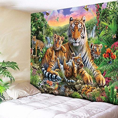 Rjjdd 3D Tiger Tapisserie Wohnkultur Große Teppiche Wandbehang Charming Regenbogen Wasserfall Green Mountain Wohnzimmer Couch Blanket Tuch Schlafzimmer 130X150cm (Green Mountain-kamera)