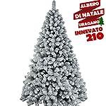 BAKAJI Albero di Natale INNEVATO Artemide Bianco Slim con Neve Artificiale 210 cm Ecologico PVC Base a Croce in Ferro 668 Rami Aghi e Neve Anti Caduta Foltissimo