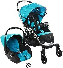R for Rabbit Travel System - Chocolate Ride - Baby Stroller/Pram + Infant Car seat for Baby/Kids (Blue Black)