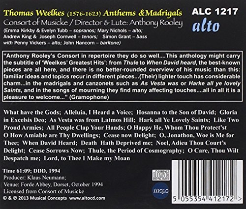 Weelkes : Anthems & Madrigals. Kirkby, Tubb, Rooley.