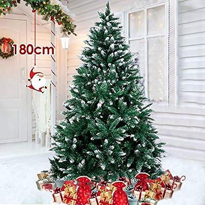 amzdeal Albero di Natale Innevato 180cm Albero di Natale Artificiale Innevato Bianco Naturale Pino con Supporto in Metallo per Feste di Natale