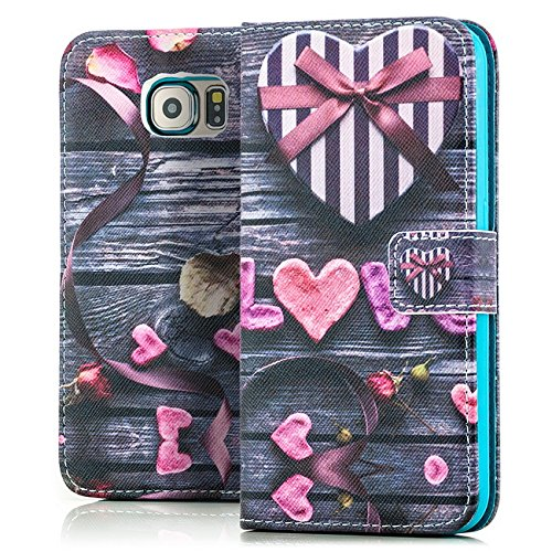 Saxonia Custodia Sony Xperia Z3+ Flip Case Cover Copertura con Portafoglio Wallet Alta Qualità con Motivo Design Love (Liebe Herzen)